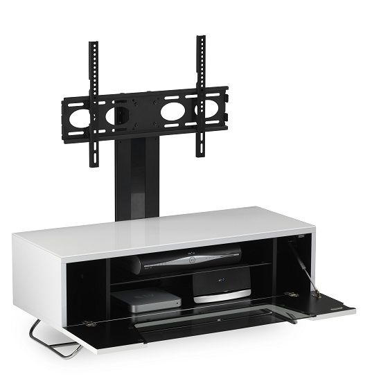 Romi LCD TV Stand In White With Chrome Base_5