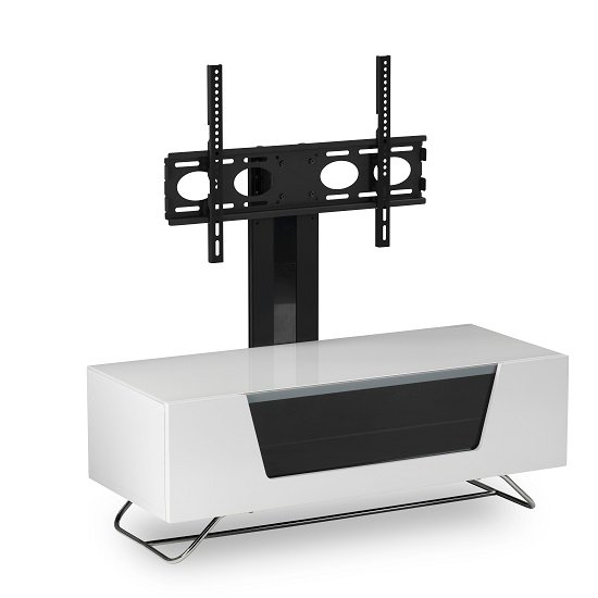 Romi LCD TV Stand In White With Chrome Base_6