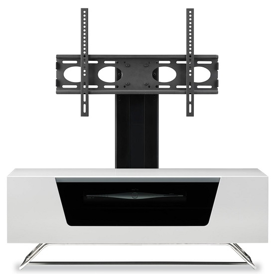 Romi LCD TV Stand In White With Chrome Base_7