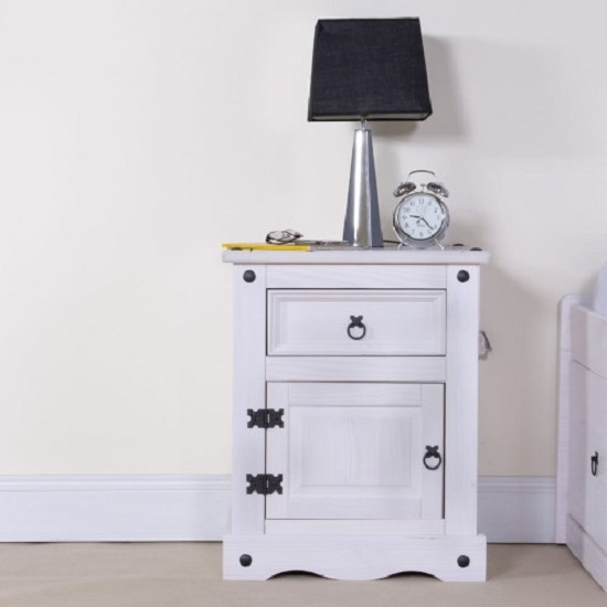 Coroner Bedside Cabinet In White Washed With 1 Door And 1 Drawer_2
