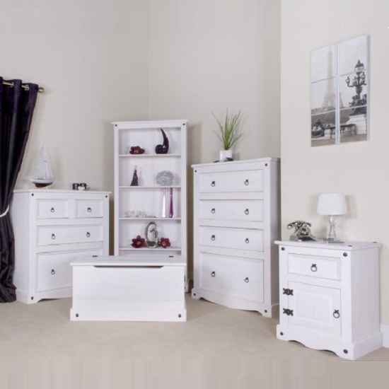Coroner Bedside Cabinet In White Washed With 1 Door And 1 Drawer_5