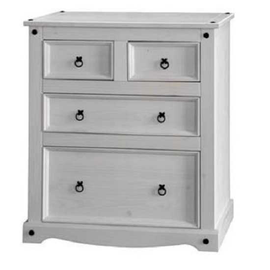 Coroner Chest Of Drawers In White Washed With 2+2 Drawers