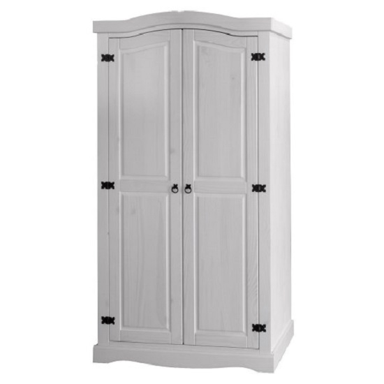 Coroner Wardrobe In White Washed With 2 Doors