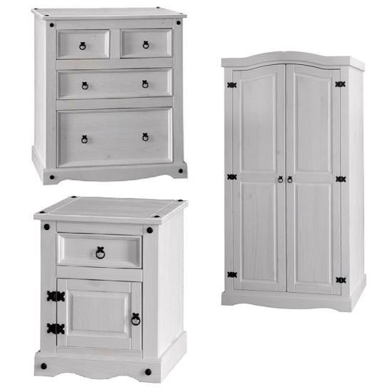 Ottawa 3 Piece Bedroom Furniture Set In Oak And White High