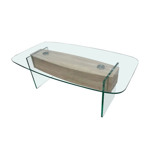 Alpha Clear Glass Coffee Table With Oak Effect