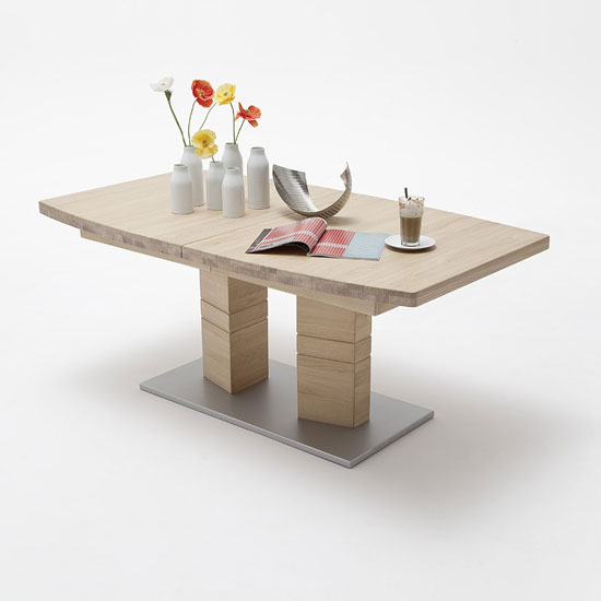 Cuneo Extendable Dining Table Boat Shape In Bianco Oak