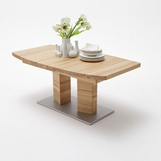 Extendable Dining Table Boat Shape Large In Core Beech