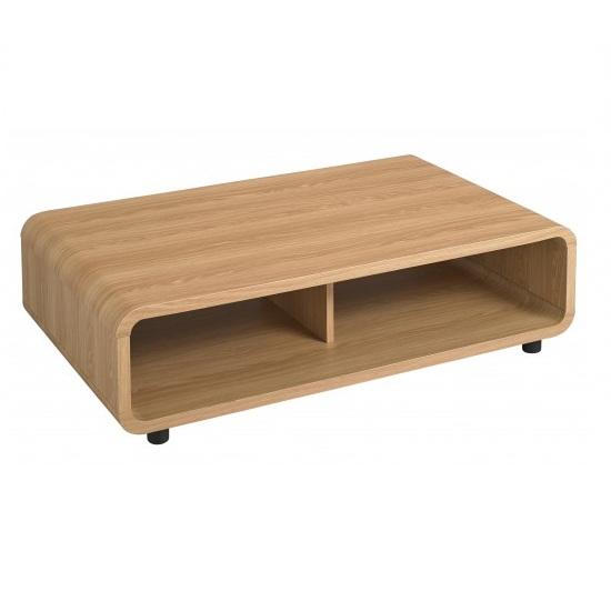 baxton curve coffee table in oak with undershelf 23825