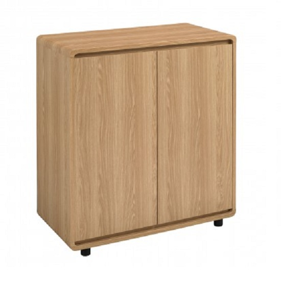 Baxton Curve Compact Sideboard In Oak With 2 Doors
