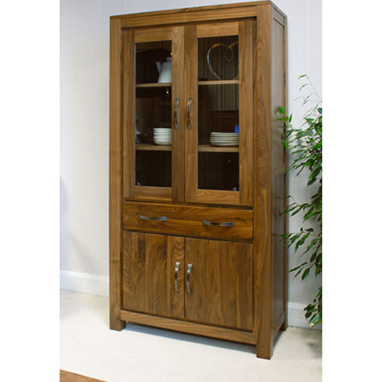 Sayan Walnut Large Glazed Bookcase