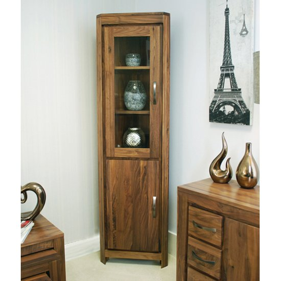 Sayan Walnut Glazed Corner Display Cabinet
