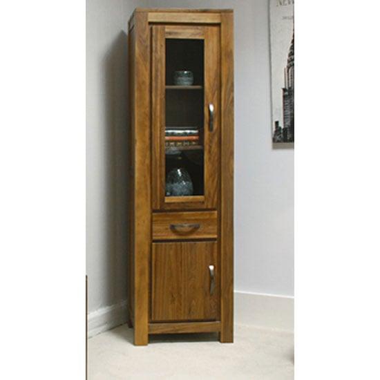 Sayan Walnut Narrow Glazed Bookcase