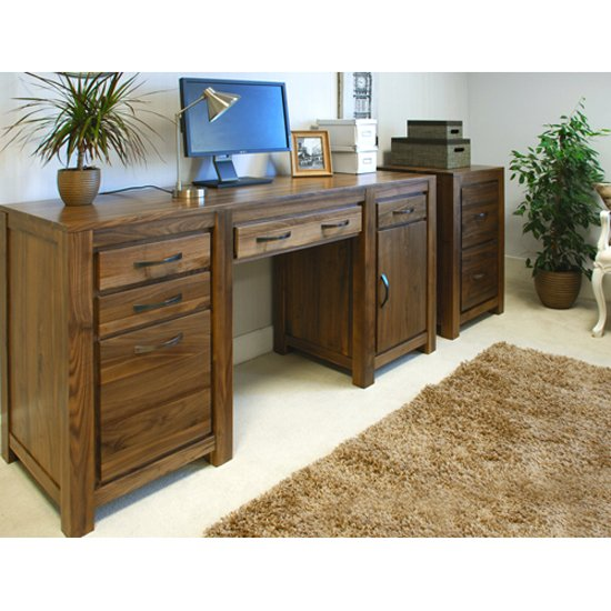 Sayan Walnut Twin Pedestal Computer Desk