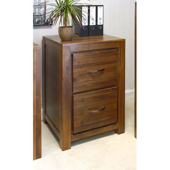 Sayan Walnut Two Drawer Filing Cabinet