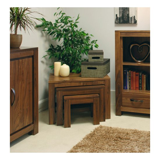 Sayan Walnut Nest of 3 Coffee Tables