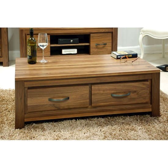 Sayan Walnut Low Four Drawer Coffee Table