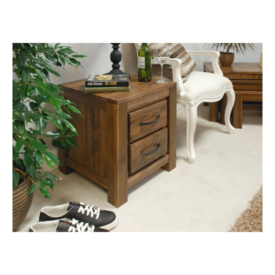 Sayan Walnut Two Drawer Lamp Table