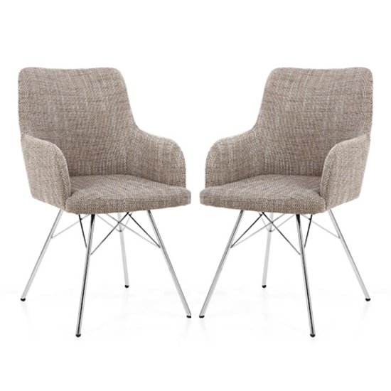 Cabalo Tweed Fabric Dining Chairs With Chrome Legs In Pair