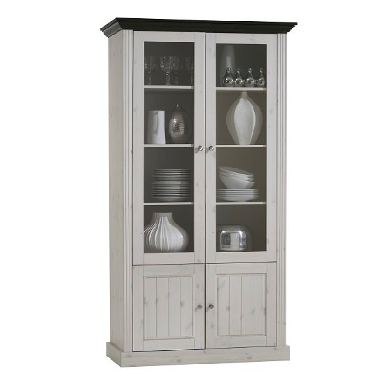 Monika Display Cabinet In White Wash Solid Pine With 4 Doors
