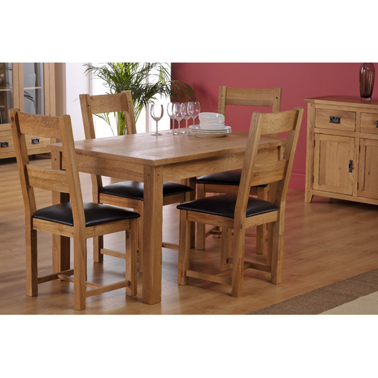 Corrick Dining Table In American White Oak And 4 Chairs