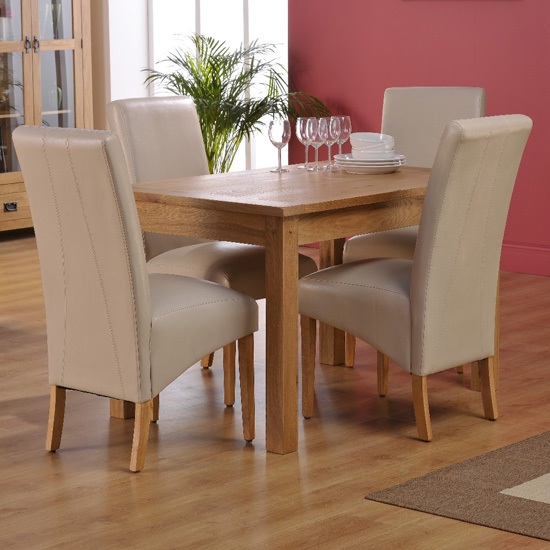Corrick Dining Table And 4 Ivory Faux Leather Dining Chairs