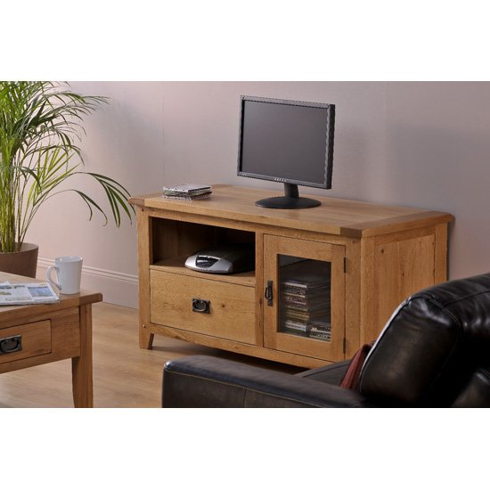 Corrick LCD TV Unit In American White Oak With 1 Door