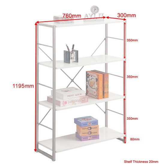 Kassel Tall Bookcase In Grey Frame With 4 White Gloss Shelf_2