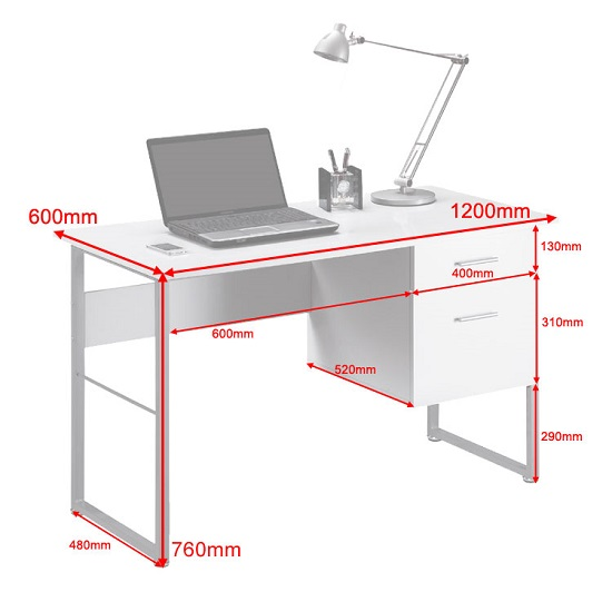Kassel Computer Desk Rectangular In White Gloss And Grey Frame_2