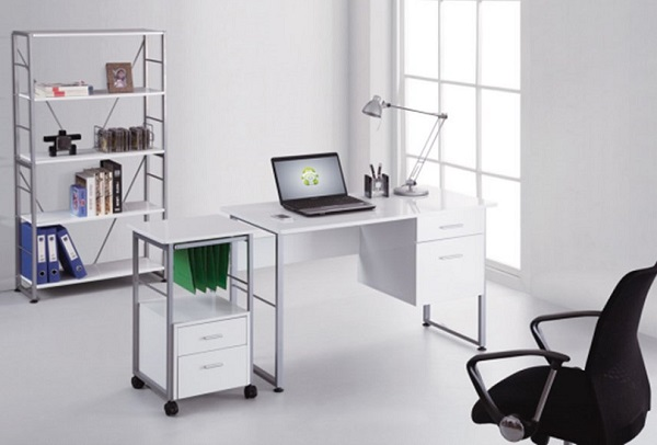 Kassel Computer Desk Rectangular In White Gloss And Grey Frame_3