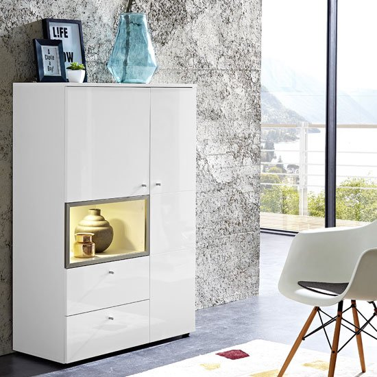 Cadiz Display Cabinet In White With High Gloss Front And LED