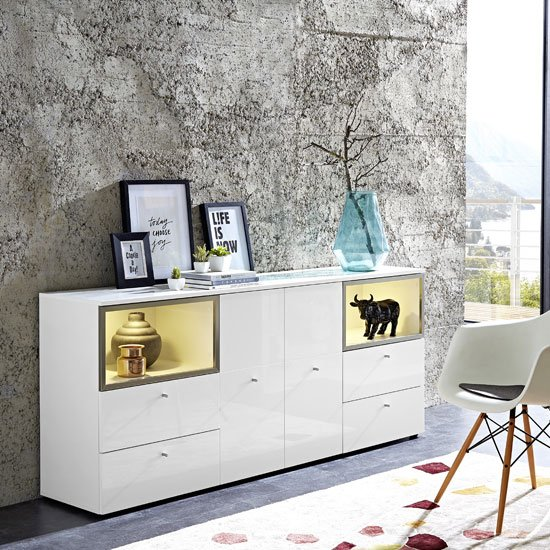 Cadiz Sideboard In White With High Gloss Front And LED
