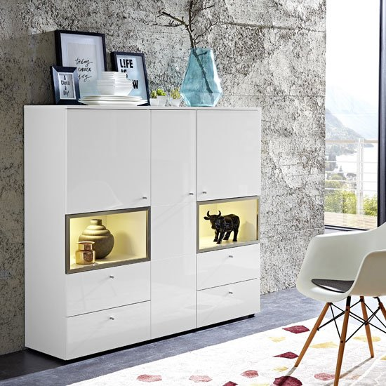 Cadiz Display Cabinet Wide In White With Gloss Fronts And LED