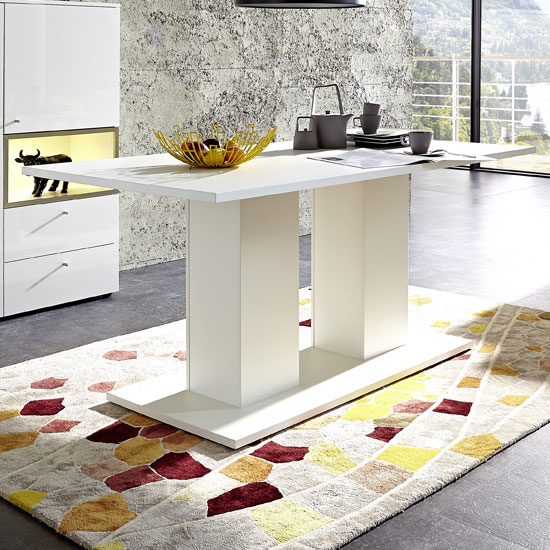Cadiz Dining Table Rectangular In White With High Gloss Top