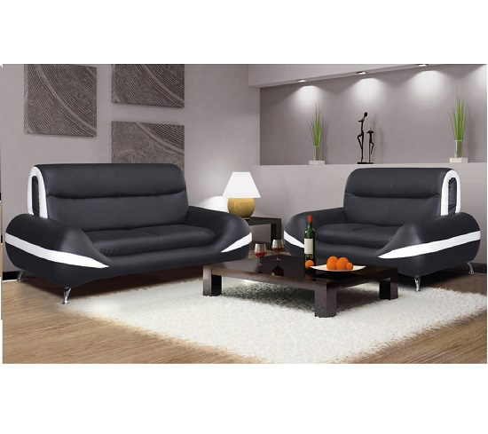 Carmena 3 And 2 Pu Sofa Set In Black And White