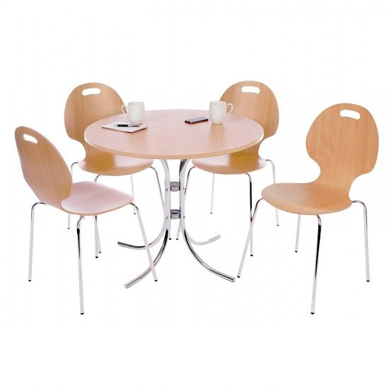 Wetley 4 Seater Bistro Set Round In Beech With Chrome Frame
