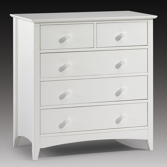 Amani Chest of Drawers In Stone White With 5 Drawers