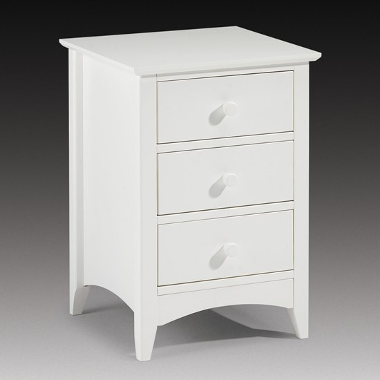 Amani Bedside Cabinet In Stone White With 3 Drawers