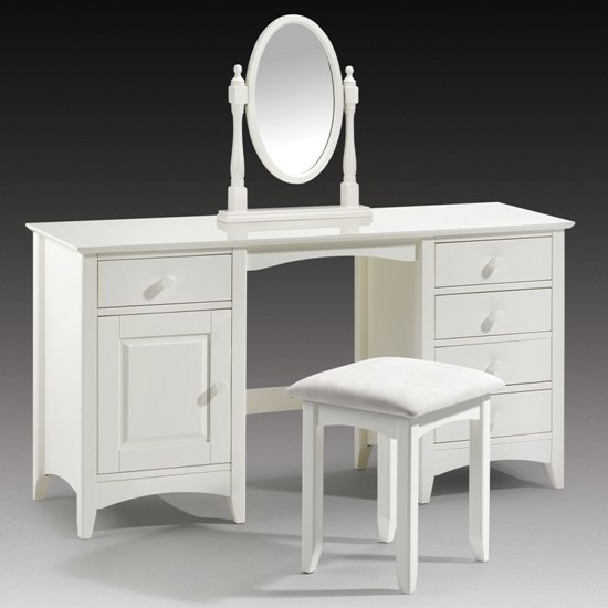 Amani twin pedestal dressing table in stone white 5095 for Dressing table long