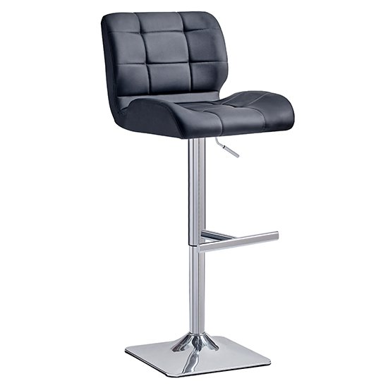 Candid Bar Stool In Black Faux Leather With Chrome Plated Base