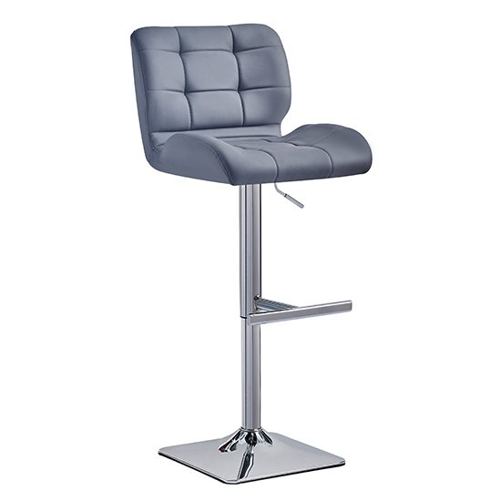 Candid Bar Stool In Grey Faux Leather With Chrome Plated Base