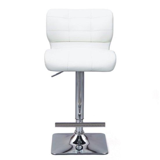 Candid White Faux Leather Bar Stool With Chrome Base In Pair_2