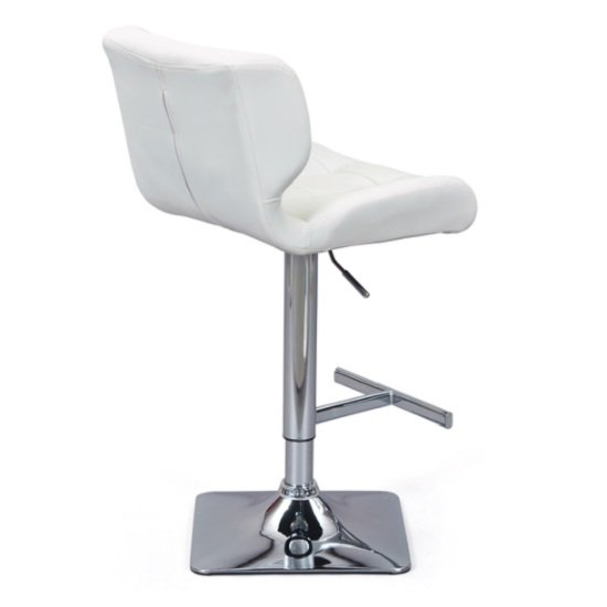 Candid White Faux Leather Bar Stool With Chrome Base In Pair_3