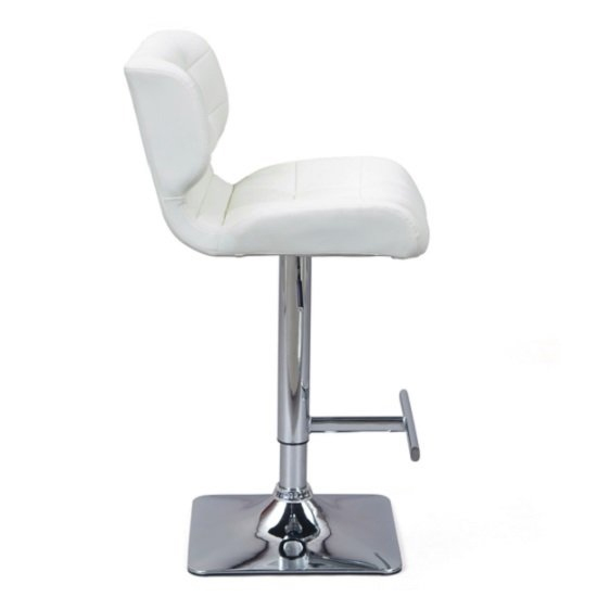 Candid White Faux Leather Bar Stool With Chrome Base In Pair_4