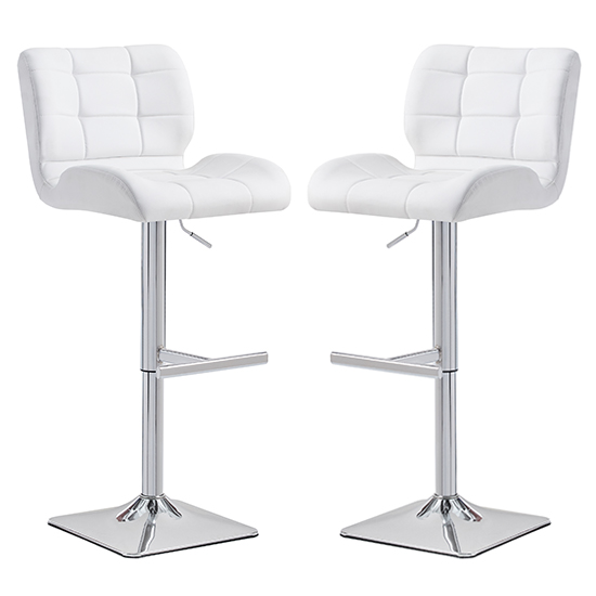 Candid White Faux Leather Bar Stool With Chrome Base In Pair_1