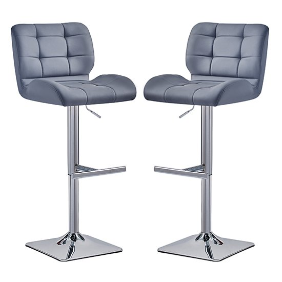 Candid Grey Faux Leather Bar Stool In Pair With Chrome Base