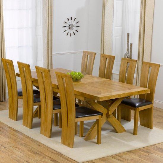 Avignon Solid Oak Extending Dining Table And 8 Arizona