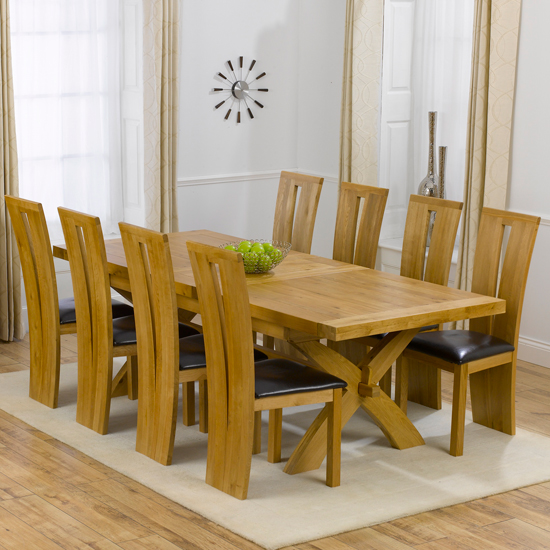 Oak Wood Table And Chairs: Avignon Solid Oak Extending Dining Table And 8 Arizona