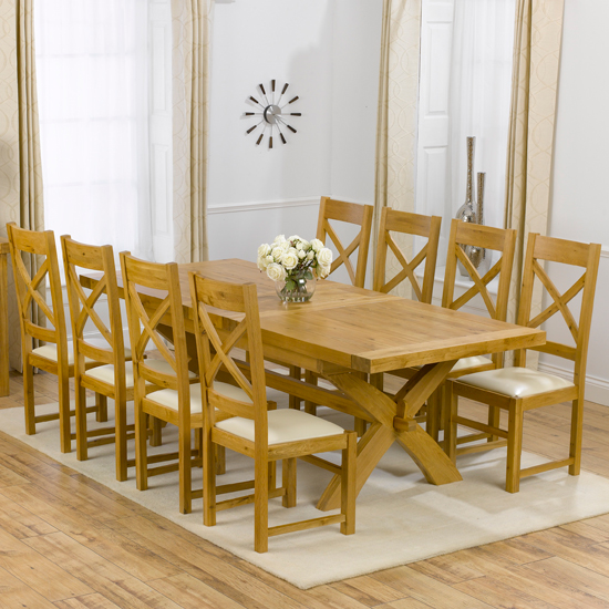 Avignon Solid Oak Extending Dining Table And 8 Canterbury Chairs