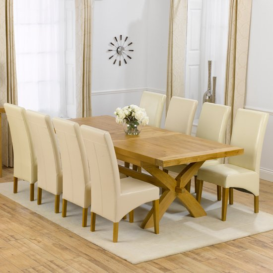 Avignon solid oak extending dining table and 8 roma chairs for 10 seater solid oak dining table