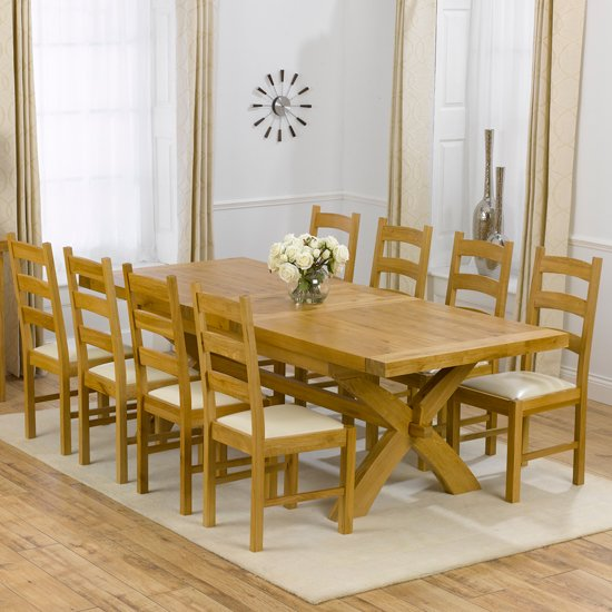 Avignon Solid Oak Extending Dining Table And 8 Hannover Chairs